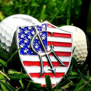 usa flag shield golf marker